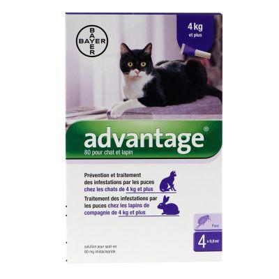 pipettes antiparasitaires advantage 80 antiparasitaire pour chat et lapin de 4 kg et plus. Black Bedroom Furniture Sets. Home Design Ideas