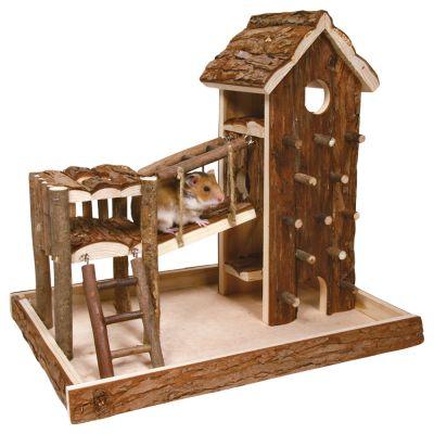 Aire de jeu Birger en bois naturel pour rongeur