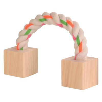 Corde de jeu en coton avec cubes de bois pour rongeur