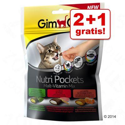 2 + 1 gratis! 3 x 150 g GimCat Nutri Pockets