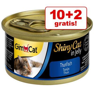 10 + 2 gratis! 12 x 70 g GimCat ShinyCat Gelatina