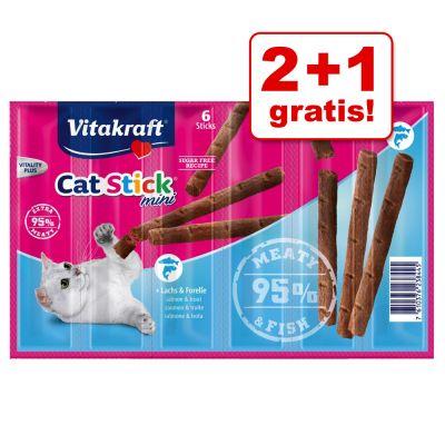 2 + 1 gratis! 18 x 6 g Vitakraft Cat Stick Mini