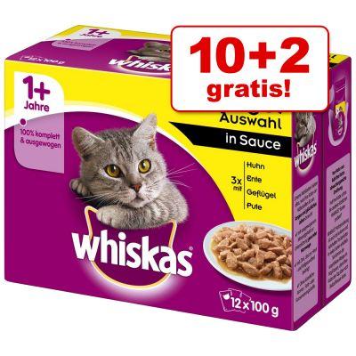 10 + 2 gratis! 12 x 100 g Whiskas 1+ buste