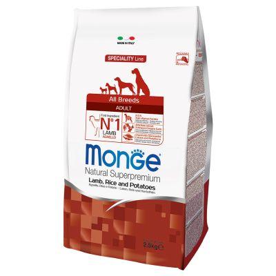 2 kg + 500 g gratis! 2,5 kg Monge Superpremium All Breeds Adult Agnello, Riso & Patate