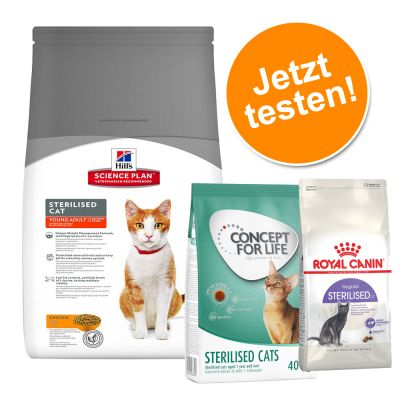 1,5 kg Hill's Feline Sterilised Cat Young Adult + 400 g Concept for Life und Royal Canin