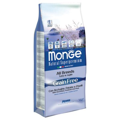 Monge Superpremium Grain Free All Breeds con Acciughe, Patate e Piselli