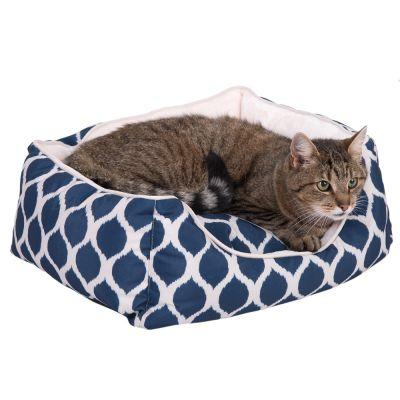 Morbido letto con stampa blu