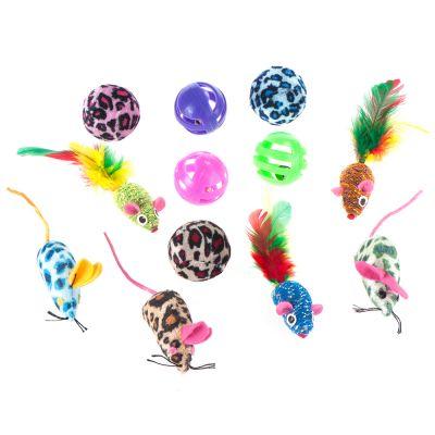 Sada hraček pro kočky s míčky & myškami