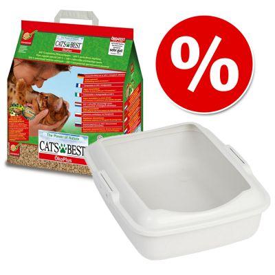 Set risparmio Cassetta igienica + 5 l Lettiera Cat's Best Eco Plus