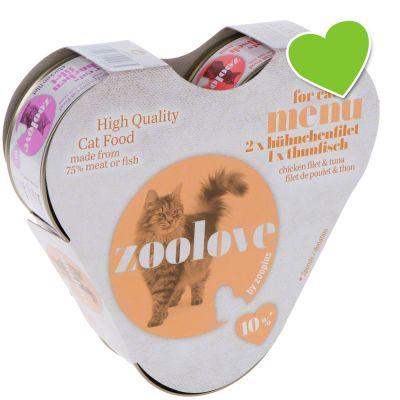 zoolove Probierbox Katzennassfutter: Hühnchen und Thunfisch